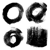 Round textured prints with paint on paper set 2 — Stock Vector