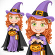 Stock Vector: Cute girl witch Trick or Treat