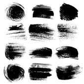 Textured brush strokes drawn a flat brush and ink set 2 — Stock Vector