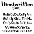 Handwritten font with a flat brush and ink — Imagen vectorial