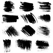Textured brush strokes drawn a flat brush and ink set1 — Stock Vector