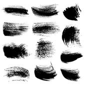 Textured brush strokes drawn ink set 3 — Stock Vector