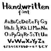 Handwritten font with a flat brush and ink — Stock Vector
