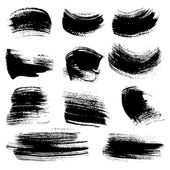 Textured brush strokes drawn a flat brush and ink set 4 — Stock Vector