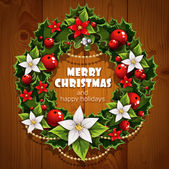 Banner with Christmas wreath and wish happy holidays — Stock Vector