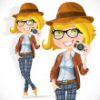 Hipster girl with a camera — Stock Vector