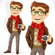 Hipster guy wearing a scarf and with a camera — Stock Vector