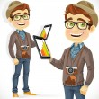 Hipster guy in hat with a tablet computer — Stock Vector