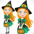 Stock Vector: Little girl dressed as a witch with pumpkin