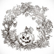 Festive decorative Halloween wreath — Stock Vector
