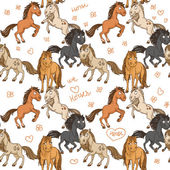 Seamless pattern of cute horses frolicking in freedom — Stock vektor