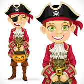Cute boy dressed as pirate Trick or Treat. — Stock Vector