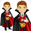 Boy dressed as a vampire with a basket for sweets — Stock Vector