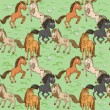 Seamless pattern of cute horse — Stock Vector