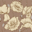 Vintage seamless pattern of pastel color poppies — Stock vektor