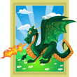 Vector fabulous magical green fire-spitting dragon on fairytale landscape — Stock Vector