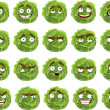 Vector cute cartoon green cabbage smile with many expressions — Stock Vector