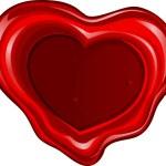 Valentine's day sealing wax in heart shape — Vetorial Stock