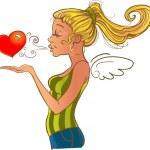 Valentine's day girl sending heart — Stock Vector #33291195