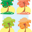 Color vector trees with fruits isolated on a white background — Vecteur