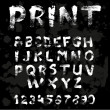 Texture font written with paint and brushes on black background — Векторная иллюстрация