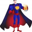 Vector Superhero with beer isolated on a white background — Stock Vector