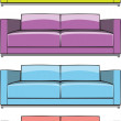 Sofa in some color variations — Stock Vector
