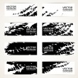 Set of abstract black vector hand drawn by brush banners — Stock Vector