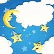 Stock Vector: Seamless pattern of cartoon stars, moon and clouds
