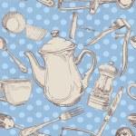 Seamless pattern of kitchen utensils vintage — Stock Vector