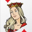 Queen of clubs. Deck romantic graphics cards — Stock vektor