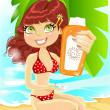 Pretty girl in red swimsuit with a cream for sunburn on the beach — Stock Vector