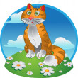 Stock Vector: Orange funny sitting cat on color background