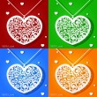 Set of four lace hearts — Stock Vector