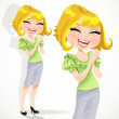 Happy pretty blond girl claps and laughs — Stock Vector