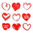 Hearts drawn with a brush and paint by St. Valentine's Day — Imagen vectorial