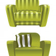 Stock Vector: Green soft stripped armchair