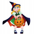 Girl hold in her hands pumpkin with a candy. raster version — Stock Vector