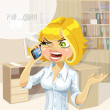 Stock Vector: Cute blond girl in office talking on the phone