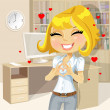 Cute blond girl clasped hands in the heart of the office — Grafika wektorowa