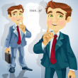 Cute businessman asked to be quiet — Imagens vectoriais em stock