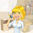 Cute blond girl in office talking on the phone — Stock Vector #33292213
