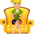 Blond girl with coffee sit in yellow armchair — Stock Vector