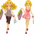 Stock Vector: Blond with shopping bags