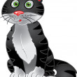 Black funny sitting cat — Stock Vector