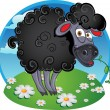 Black dark sheep with blade of grass on color background — Stock Vector