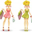 Blond with shopping bags — Stock Vector