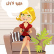 "Beautiful blond girl in brown armchair with cup coffee offers ""let's talk"" — Stock Vector"
