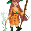 Young witch with cool magic wand and broom — Vektorgrafik