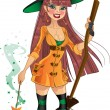 Young witch with cool magic wand and broom — Stockvectorbeeld